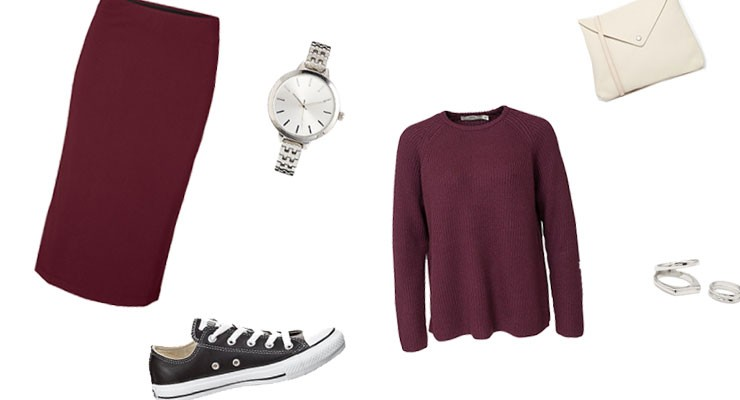 Styled by Manon: Look #21/ Burgundy Pencil Skirt